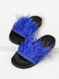 Faux Fur Detail Slip On Sandals