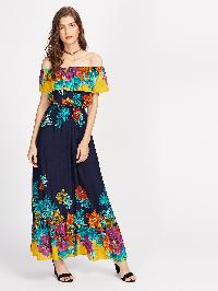 Flounce Layered Neckline Florals Dress