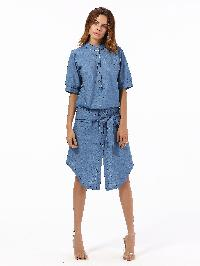 Bow Tie Detail Dip Hem Chambray Dress