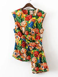 Fold Detail Floral Print Sleeveless Top