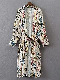 Floral Print Longline Kimono With Self Tie
