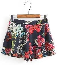 Floral Print Layered Shorts