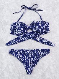 Graphic Print Bandeau Bikini Set