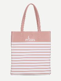 Letter Print Striped PU Tote Bag