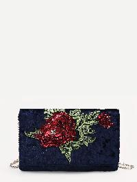 Sequin And Beads Flower Decorated Velvet Chain Bag