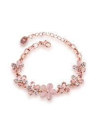 Rhinestone Detail Flower Chain Bracelet