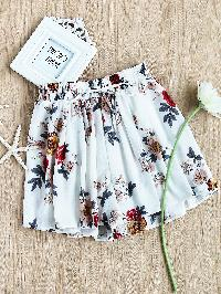 Floral Print Random Drawstring Shirred Waist Skort