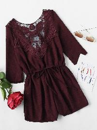 Heather Burgundy Crochet Lace Insert Back Tie Romper