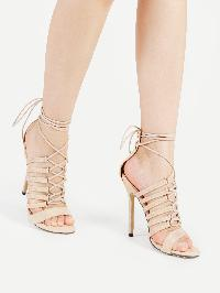 Criss Cross Tie Up PU Stiletto Sandals