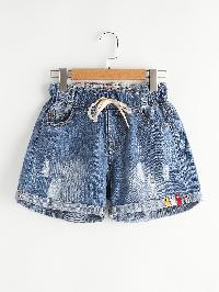 Distress Drawstring Waist Cuffed Denim Shorts
