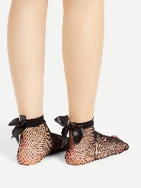 Bow Tie Back Fishnet Socks