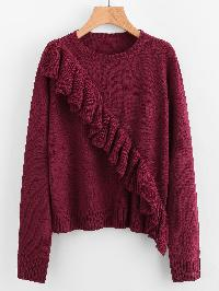 Ribbed Trim Flounce Detail Jumper