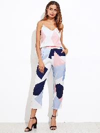 Random Print Cami Top With Pants