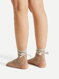 Bow Tie Fishnet Ankle Socks
