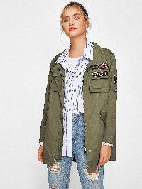 Applique Drawstring Hem Anorak Jacket
