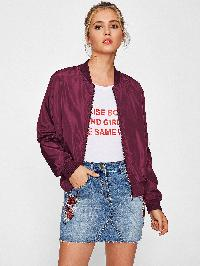 Ribbed Knit Trim Bomber Jacket