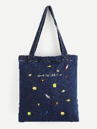 Embroidered Galaxy Denim Shopper Bag