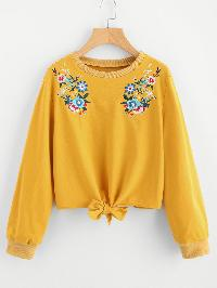 Bow Tie Hem Symmetric Embroidered Pullover