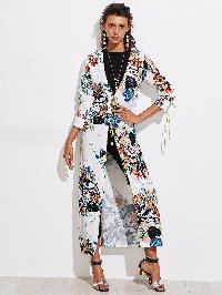 Botanical Print Contrast Trim Longline Kimono