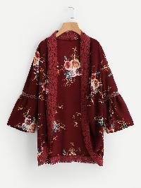 Floral Print Lace Trim Hollow Kimono