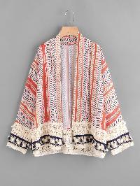 Printed Random Crochet Hem Fringe Kimono