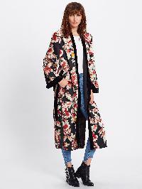 Leather Print Tie Waist Kimono