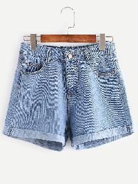 Distressed Cuffed Denim Shorts