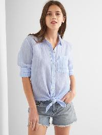 Gap Linen Oversize Boyfriend Shirt - Blue white stripe