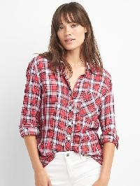 Gap Plaid Drapey Shirt - Red plaid