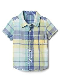 Gap Plaid Short Sleeve Shirt - Cabana blue 602