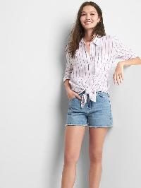 Gap Linen Oversize Boyfriend Shirt - Thin pink stripe
