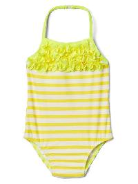 Gap Floral Applique Swim One Piece - Bright lemon