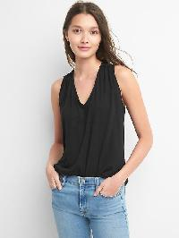 Gap Shirred V Neck Tank - True black