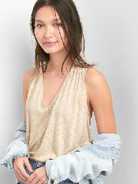 Gap Shirred V Neck Tank - New sly stone beige