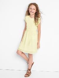 Gap Lace Fit & Flare Dress - Light citrus