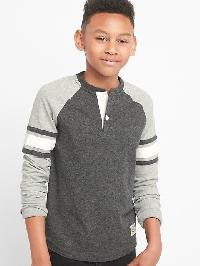 Gap Triple Stripe Slub Henley - Charcoal grey