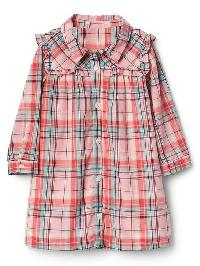 Gap Plaid Ruffle Bib Shirtdress - Pink plaid