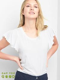 Gap Flutter Sleeve Vintage Tee - Optic white