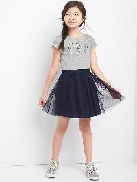 Gap Graphic Double Layer Dress - B1nd05 light grey