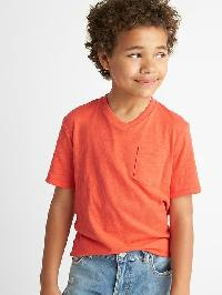 Gap Short Sleeve V Neck Pocket Tee - Blood orange