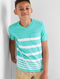 Gap Stripe V Neck Pocket Tee - Water garden green