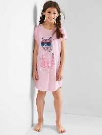 Gap Cat Short Sleeve Nightgown - Pink