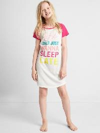 Gap Graphic Baseball Nightgown - Raspberry sorbet