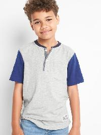 Gap Colorblock Slub Henley - Grey