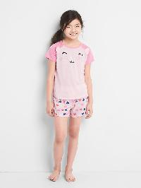Gap Animal Face Short Pj Set - New powder