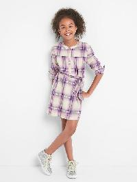 Gap Plaid Tie Belt Shirtdress - Pink plaid combo a