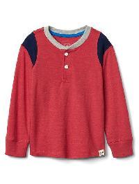 Gap Long Sleeve Slub Henley - Modern red