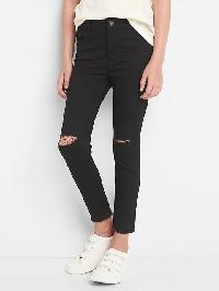 Gap High Stretch Distressed Skimmer Jeggings - Black wash