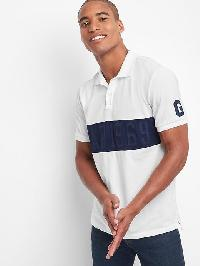 Gap Chest Stripe Logo Polo - White v2 global