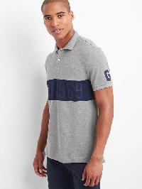 Gap Chest Stripe Logo Polo - Heather grey